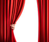 Fototapety Background with red velvet curtain and hand. Vector illustration