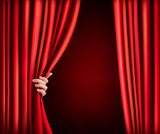 Background with red velvet curtain and hand. Vector illustration