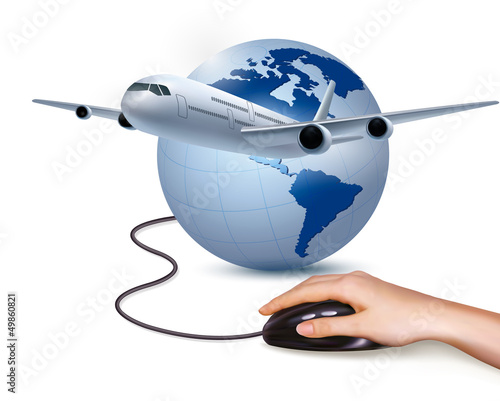 Background with airplane and hand with mouse. Travel concept. Ve
