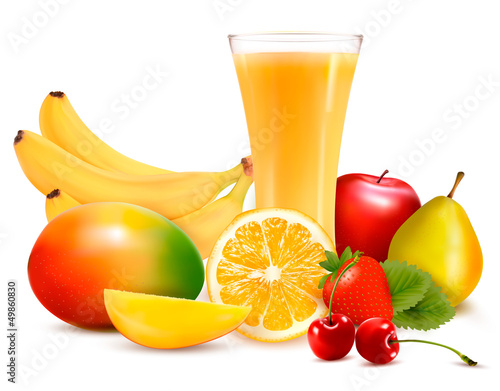 Fresh fruit and juice. Vector