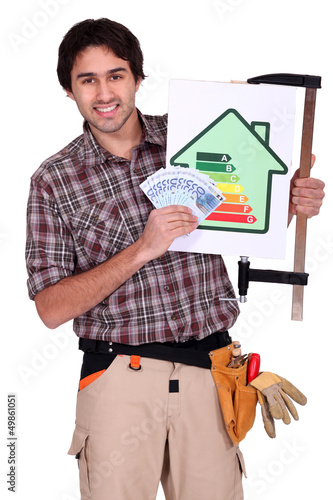 A handyman promoting energy savings.