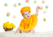 baby boy dressed in Easter chicken costume