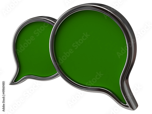 Green chat icon isolated on white background