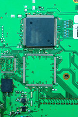 Close up on a part of the old electronic circuit boards  backgro