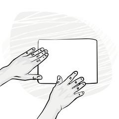 pusta kartka papieru ręce z jednej strony ilustracja monochrom