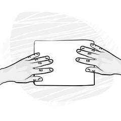pusta kartka papieru ręce z dwóch stron ilustracja monochrom