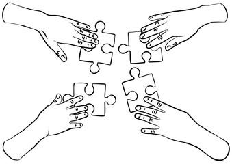 cztery ręce układanka puzzle ilustracja czarno biała