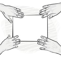pusta kartka papieru cztery ręce ilustracja monochrom
