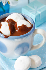 Chocolate drink with marshmallow.