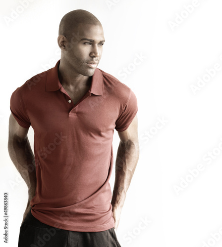 Male model against white background