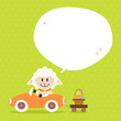 Sheep Car Basket Speech Bubble Green Dots