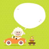 Sheep Car Basket Speech Bubble Green Dots