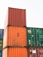 Stacked color cargo containers