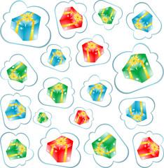 Gift boxes seamless pattern