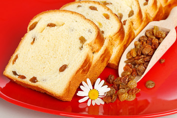 Macro of sweet loaf slices with raisins