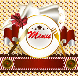 Cute menu design with plate and banner