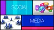 Social media network apps colored animation