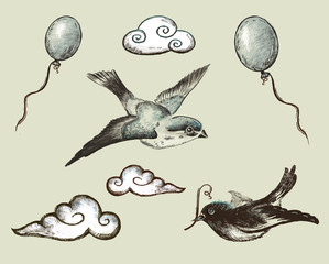 Vintage. collection Elements of Decor. Birds. Ball.Cloud.