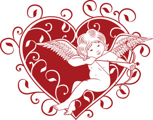 Cupid with valentine heart