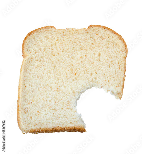 Eaten piece of bread isolated on white