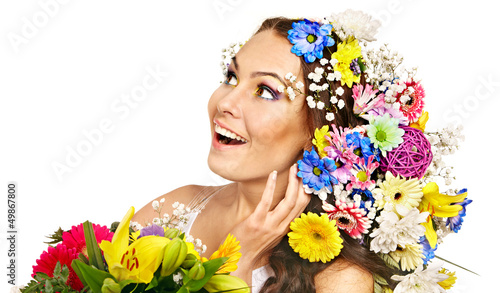 Happy woman with flower.