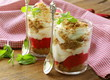 dairy dessert with strawberries, trifle in glasses