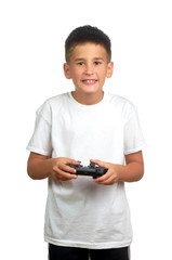 child boy holding joystick