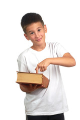ten year old boy with book