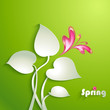 Spring background with leaves and butterfly