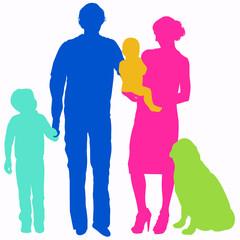 Famiglia con bambini e cane