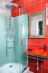 red bathroom interior in hospital
