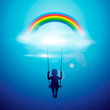 Little girl on swing under rainbow, vector Eps 10 illustration.