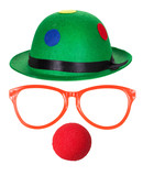 Clown hat with glasses and red nose