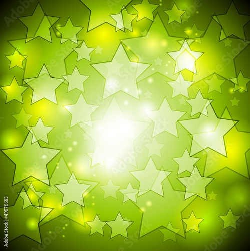 Bright green stars vector design