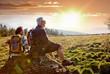 senioren beim wandern im Sonnenuntergang / autumn hiking 18