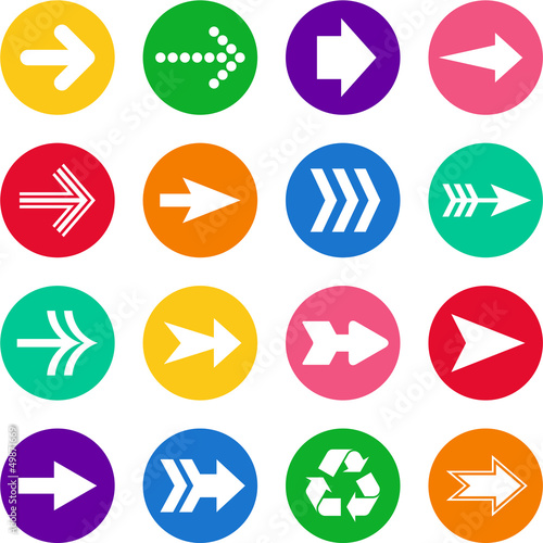Set of arrows in colorful circles