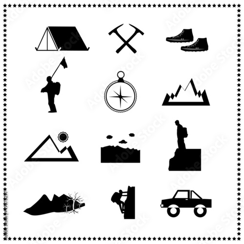 Set of climbing mountain and travel, Vector illustration