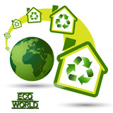 Green Eco House with recycling symbol from Green World