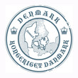 Grunge rubber stamp with the name and map of Denmark, vector