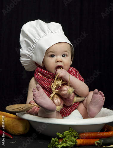 Baby Chef Eating