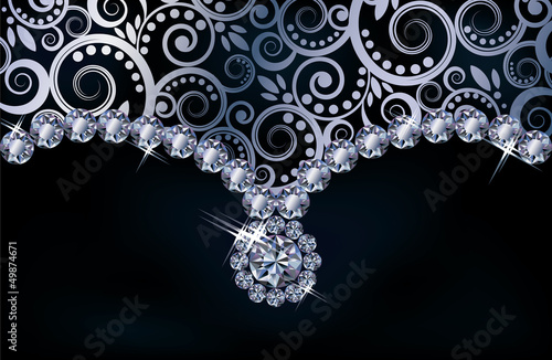 Diamond floral background, vector illustration
