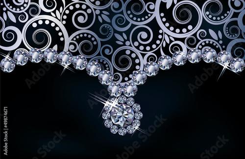 Diamond floral background, vector illustration