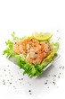 Salad with shrimp sprinkled with parsley sea