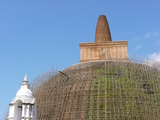 Restoration of the Abhayagiri dagoba (Stupa) in Anuradhapura