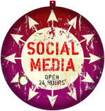 vintage social media sign or button, grungy, vector
