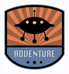 Adventure label, vector illustration