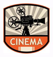 Cinema label, vector illustration