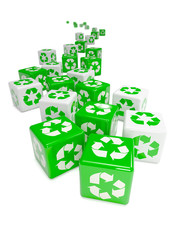 Green 3d recycle symbols to the horizon