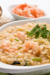Risotto con gamberetti e zucchini - Rice with shrimps