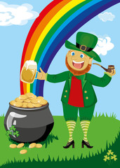 Leprechaun with a pipe and beer
